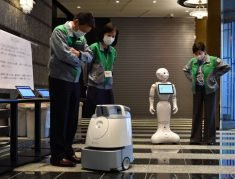 Robots that will serve coronavirus patients at Tokyo hotels unveiled