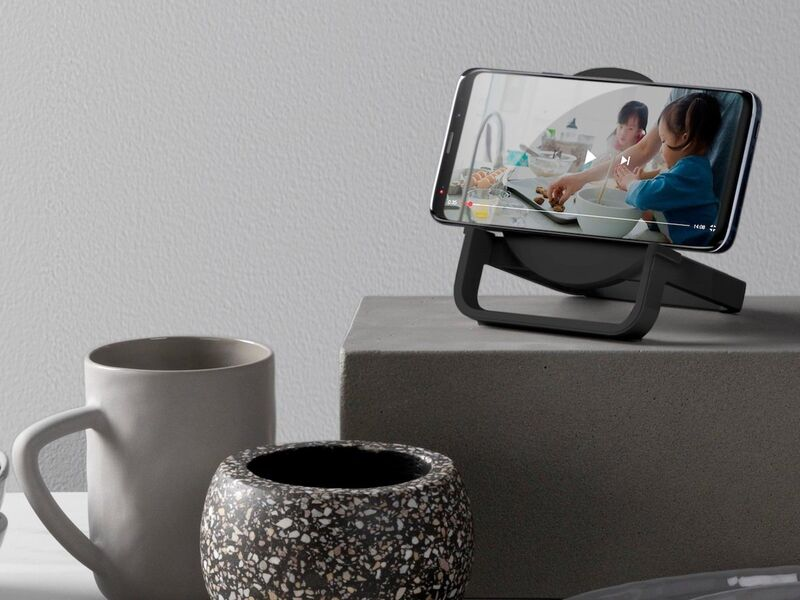 The Belkin BOOST↑CHARGE Wireless Charging Stand + Speaker